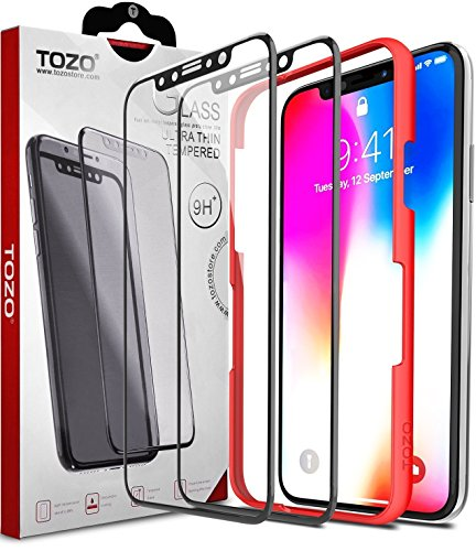 TOZO for iPhone X Screen Protector (2 Packs) Glass [ 3D Full Frame ] Premium Tempered 9H Hardness PET [Soft Edge Hybrid] Super Easy Apply for iPhone 10 work with Black Edge [Edge to Edge]