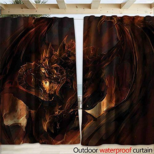 warmfamily Dragon Home Patio Outdoor Curtain Demonic Angry Molten Dragon with Horns Burning in Flames Imaginary Inferno Beast W120 x L84 Yellow Brown -