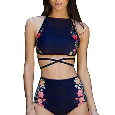 Conjunto Bikini,Venmo Mujer Traje de baño Cintura Alta Push-up Geométrico Impresión Sujetador Beachwear Halter Bañador Sexy Bikin de Dos Piezas