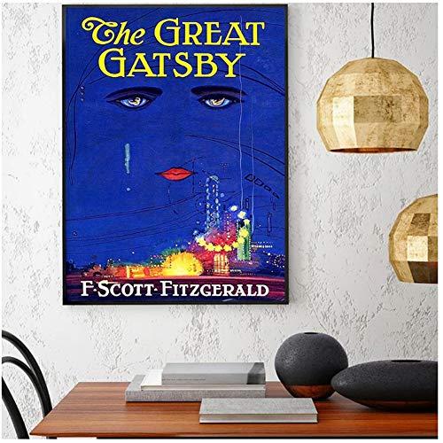 yhyxll Great Gatsby Poster Scott Fitzgerald Cubierta de Libro impresion Cnavas Pintura Cuadros de Pared para Living Romm decoracion del hogar -50X70Cm sin Marco