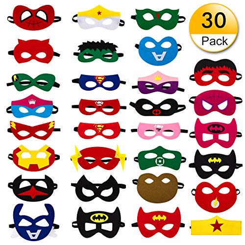 - 30pcs Superhero Felt Masks for Kids Party Cosplay Superhero Masks with Elastic Rope Party Favors Mask for Birthday Gifts (Multicolor)
