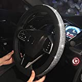 Cystal Steering Wheel Cover, Leather Steering Wheel Cover Bling Bling Rhinestones Crystals Car Handcraft Steering Wheel Covers for Girls. (Sliver)