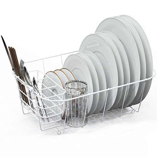 Plate Drainer (Dish Drying Rack Drainer Basket w/Utensil Caddy, White)