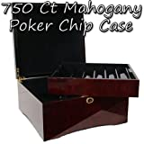 Premium Wooden Mahogany Poker Chip Case - Glossy, Casino-Grade Chest with Felt-Lined Interior – Holds 750 Chips by Brybelly
