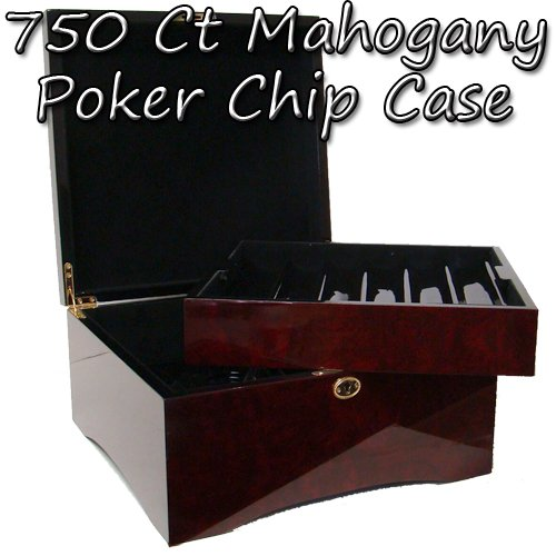 Premium Wooden Mahogany Poker Chip Case - Glossy, Casino-Grade Chest with Felt-Lined Interior – Holds 750 Chips by Brybelly by Brybelly
