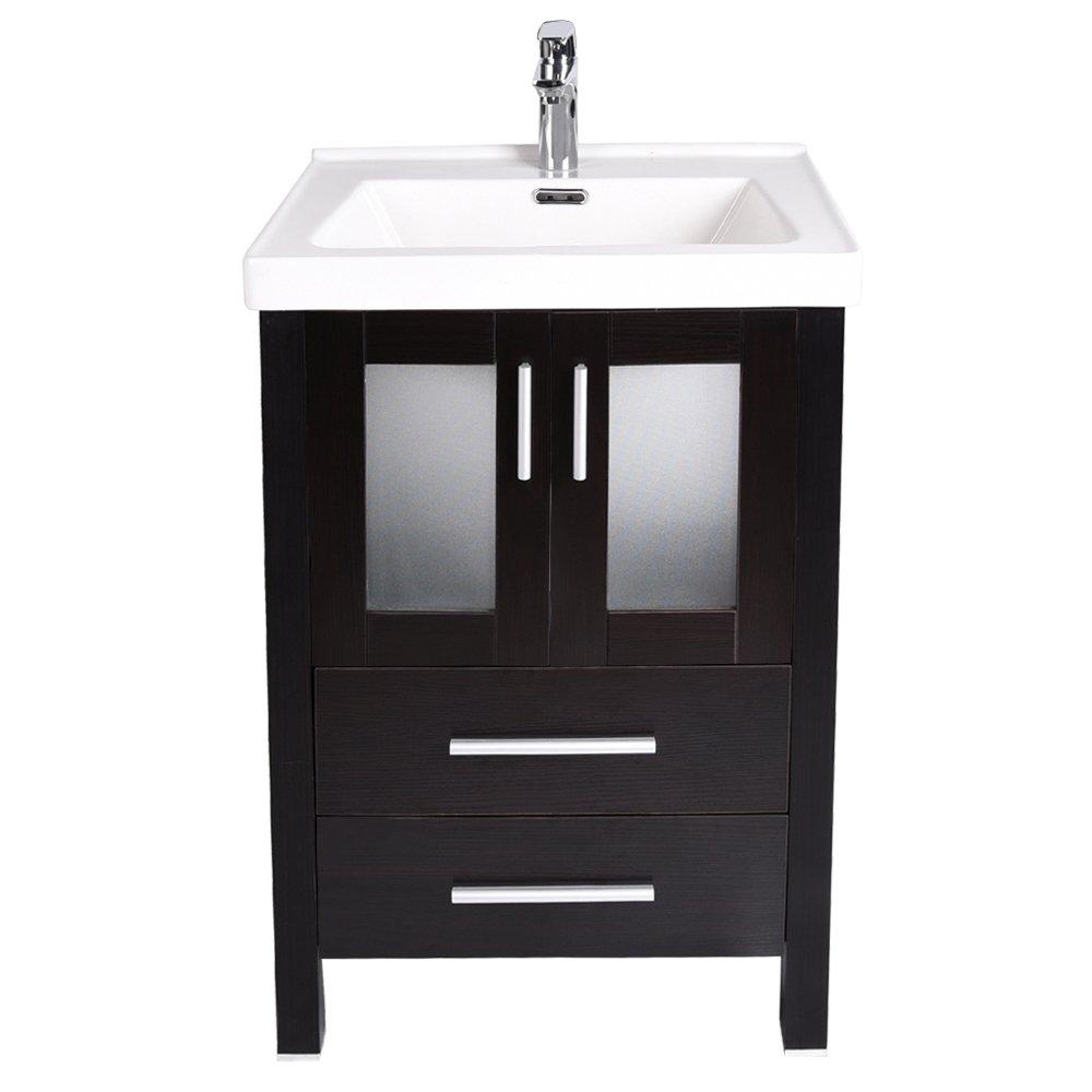24-Inch Bathroom Vanity, Modern Stand Pedestal Cabinet, with Rectangle Ceramic Undermount Vessel Vanity Sink, Wood Black Fixture by PULUOMIS (Image #3)