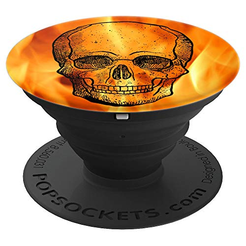 Flaming Fire Skull Boney Hot Head Design - PopSockets Grip and Stand for Phones and Tablets