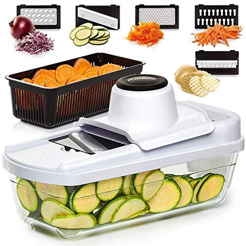 Mandoline Slicer Vegetable Slicer Mandoline - Potato Slicer Food Slicer Veggie Slicer Cutter Slicers for Fruits and Vegetables - Fruit Slicer Onion Slicer Julienne Slicer with Glass Container