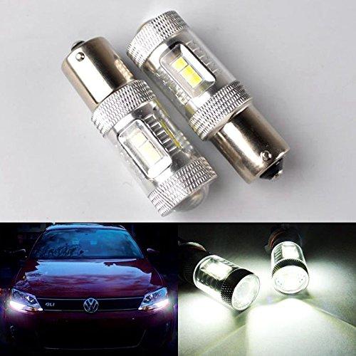 RunQiao® 2x 15W SAMSUNG LED 382 1156 BA15s Ampoule Feux de voiture Feu de jour DRL Daylight lampe avec clignotants Clignotants feux automobiles