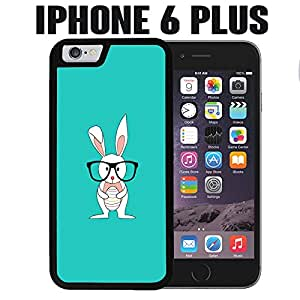 iPhone Case Cute Bunny Glasses Hipster for iPhone 6 PLUS Plastic Black (Ships from CA)