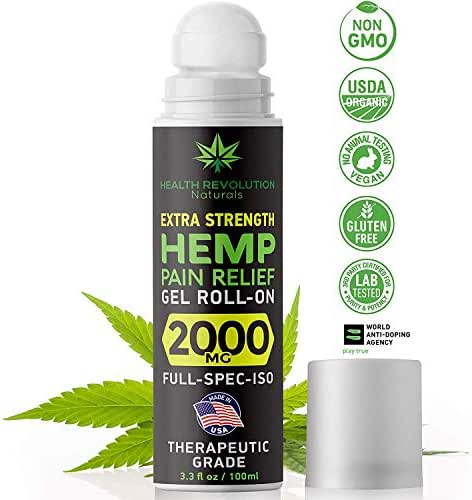 Hemp Pain Relief Roll-On Gel, Faster Acting, Longer Lasting Than Oil or Cream, Sciatica, Arthritis, Muscle, Joint & Back Pains. Acne Treatment. Cooling Topical Analgesic, Colorless Formula 3.3oz