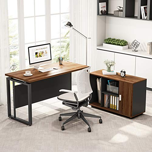 Metal Countertop Computer Cabinet - Large Computer Desk and File Cabinet, LITTLE TREE 55