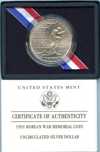 1991 Modern Commemorative D Korean War Memorial Silver Dollar Uncirculated US Mint