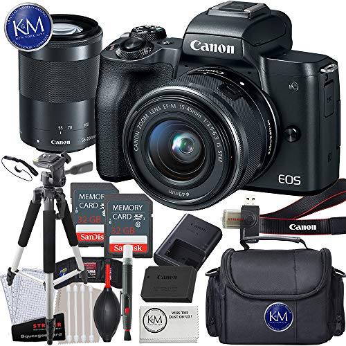 Canon EOS M50 Mirrorless Camera w/15-45mm and 55-200mm (Black) + 2 x 32GB + K&M Deluxe Photo Bundle (Best Camera For 200)