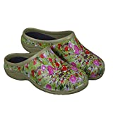 Backdoorshoes Waterproof Premium Garden Clogs with Arch Support-Poppy Design by (10)