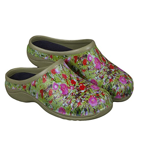 Garden Clogs (Backdoorshoes Waterproof Premium Garden Clogs with Arch Support-Poppy Design by (8))