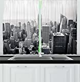 new york cafe - Urban Kitchen Curtains by Ambesonne, USA Decor Theme Aerial View of New York City Skyscrapers and the Foggy Sky Digital Print, Window Drapes 2 Panels Set for Kitchen Cafe, 55W X 39L Inches, Grey