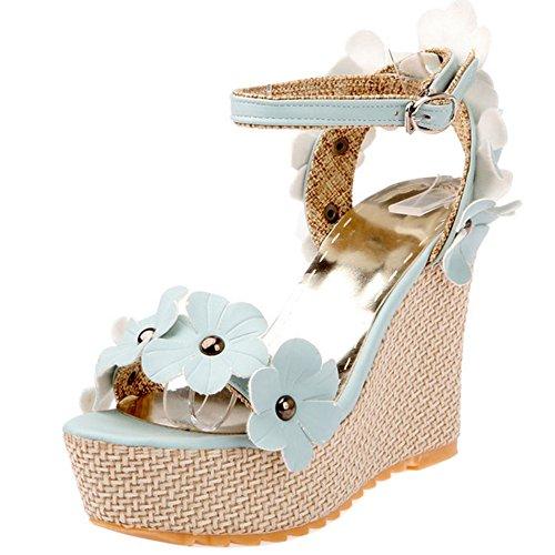 COOLCEPT Mujer Moda Al Tobillo Sandalias Punta Abierta Slingback Tacon de Cuna Zapatos With Flor Azul