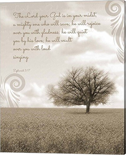 (Zephaniah 3:17 The Lord Your God (Grey Landscape) by Inspire Me Canvas Art Wall Picture, Gallery Wrap, 16 x 20)