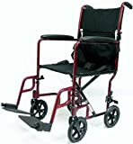 Karman Healthcare LT-2019-BD Folding Aluminum Transport Chair with Removable Footrests, Burgundy, 19 Inches Seat Width