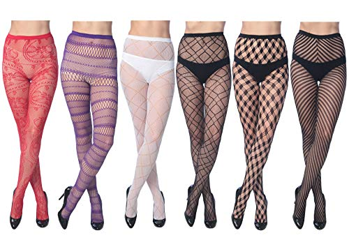 Frenchic Women's Fishnet Lace Stockings Tights Sexy Pantyhose Extended Sizes (Pack of 6) (10005 Colors, Small/Medium)