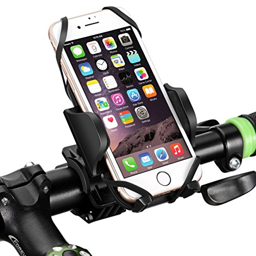 Mpow Bike Phone Mount Bike Holder, Universal Bike Phone Mount with 360 Degrees Rotatable, Rubber Strap, Slide-Proof Clamp, One-button Released Motorcycle Mount for ,iPhone 7 plus/8 /6/6s,Samsung Galaxy ,Google pixel ,Other Smartphones and GPS Devices … (Black)