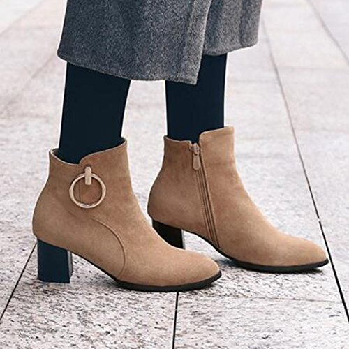 Easemax Womens Trendy Frosted Rings Pointed Toe Mid Chunky Heel Side Zipper Ankle Boots Apricot nrat3