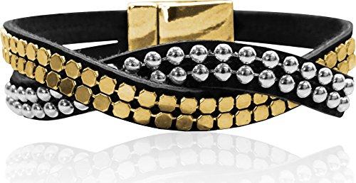 Bracelet Swarovski Wrap Around (LUNA Double Wrap Around Bracelet - Single Twist Metal Studding - Black/Gold/Silver)