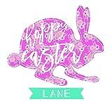 Personalized Custom Big Easter Bags for kids, Reusable tote bag, Easter Basket, Easter Present for Boys & Girls, Easter Party, Easter Egg Hunt,Bag of Easter Candy, 12 Colorful Designs (Lane Bunny)