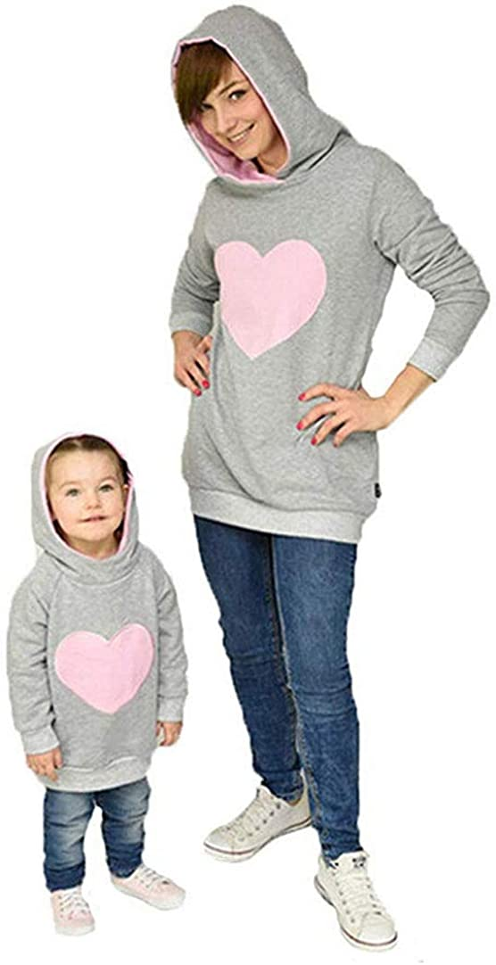 Mother and Daughter Family Matching Outfits Keep Warm Heart Long Hoodie with Side Pockets