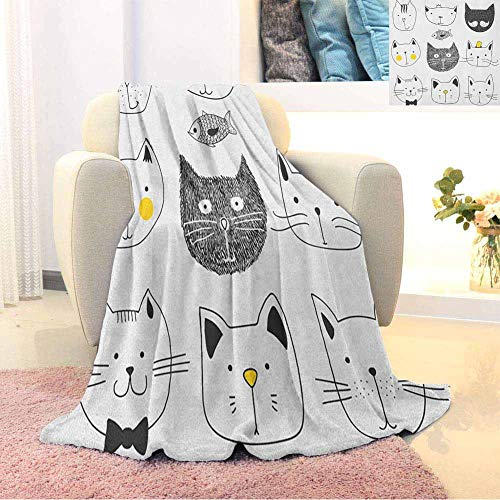 Cat Double-Sided Printing Swaddle Blanket Stylish Cats with Moustache Bow Tie Hat Crown Fluffy and Fish Humor Faces Graphic Bedroom Sofa Warm Blanket Yellow Grey 57