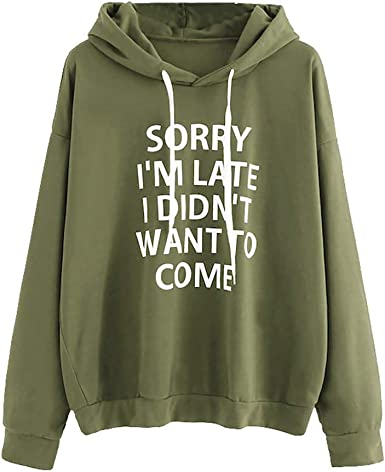 Sweatshirts for Women,Fudule Womens Long Sleeve Letter Print Hoodied Pullover Teen Girls Sweatshirts Sweater Blouse Top