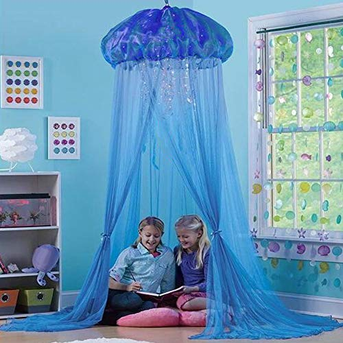 fanmaosdf Kids Baby Princess Room Bed Jellyfish Shape Curtain Canopy Summer Mosquito Net Perfect Boho Woodland Nursery Decor Blue