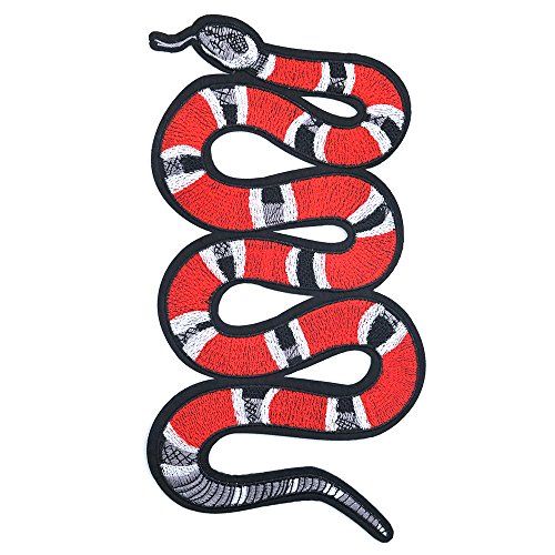 Street Snake - Iron on Patches, Sew on Patches, Red Snake DIY Street Fashion Style Decoration Embroidered Iron-on Patches for DIY T-Shirt, Jeans, Jacket, Hand Bags.