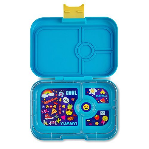 YUMBOX Panino Leakproof Bento Lunch Box Container for Kids & Adults (Kai Blue; Emoji Tray) -