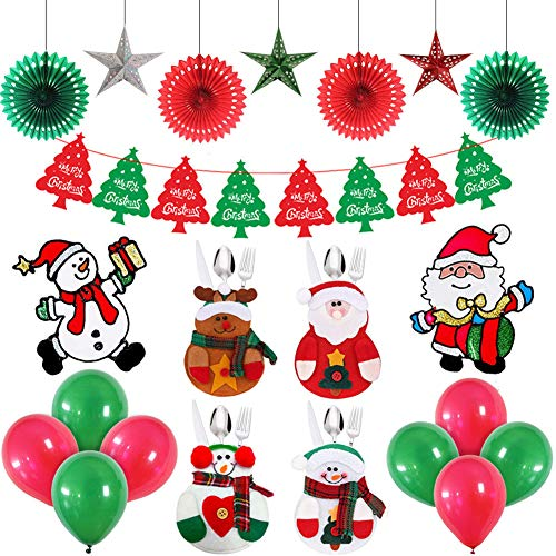 Wall Santa Claus (Christmas Indoor New Year Party Decorations Set For Home,New Year Gifts Party Supplies Hanging Paper Fans & Stars,Christmas Tree Banner,Santa Claus Stickers,Balloons,Xmas Cutlery Holders Dining Table Decor,Home Decor Xmas New Year Ornaments)