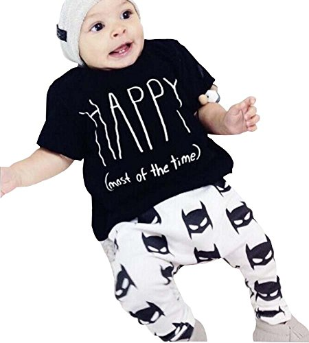 Children Cartoon New 2Pcs Newborn Baby Boys Outfits Top T-shirt +Batman Pants Clothes Set 0-6Months Black