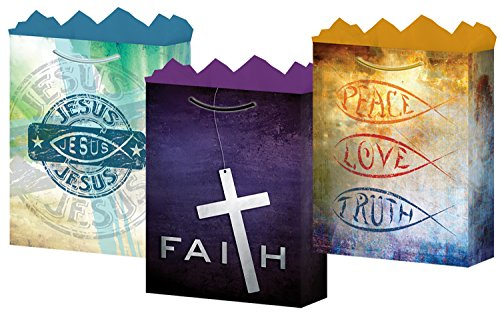 Gift BagsFaith Medium3 Styles Glossy Finish 12 Count, Fat Toad for $<!--$14.99-->