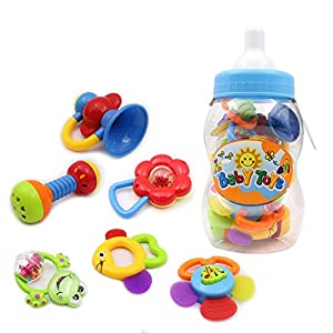 9pcs Baby Rattles Christmas Gift Set Baby's First Teether Toy with Giant Baby Bottle Coin Bank by Wishland