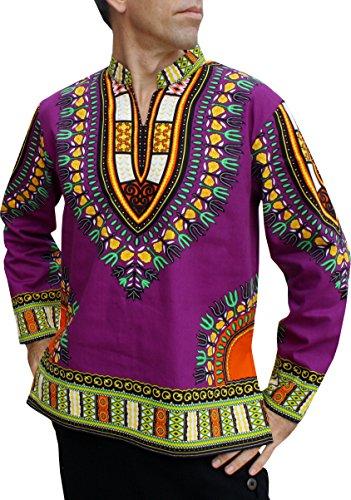 RaanPahMuang Chinese Mandarin Stand Up Collar Long Sleeve African Dashiki Shirt