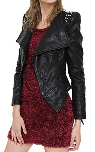 (chouyatou Women's Cool Stylish Studded Oblique Zip Perfect Shaping Body Pu Leather Biker Jacket (X-Small, Black))