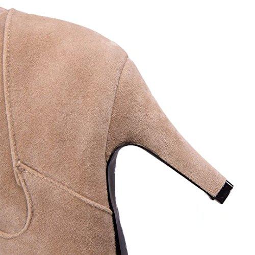 Aiyoumei Kvinners Semsket Lace-up Stiletthæler Vinteren Varm Over Kneet Støvler Med Pels Beige