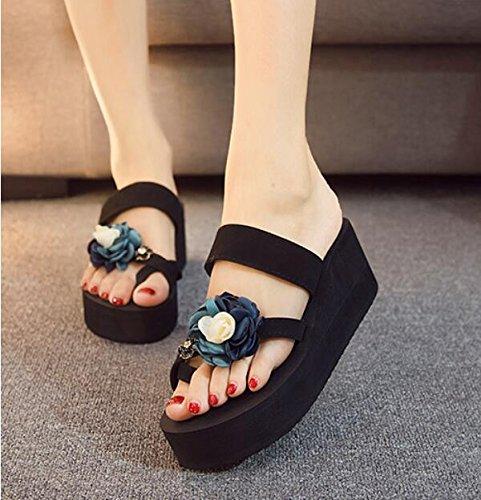 KHSKX-Zapatillas Mujer Verano Fresco Y Elegante Vistiendo Gruesas Con Wild Colinas De Campos Y Black Out Outdoor Calzado De Playa 39