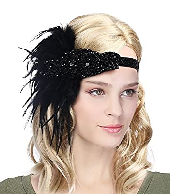 Urban CoCo Women's Vintage 1920s Great Gatsby Flapper Headband Feather Wedding Party Headpiece