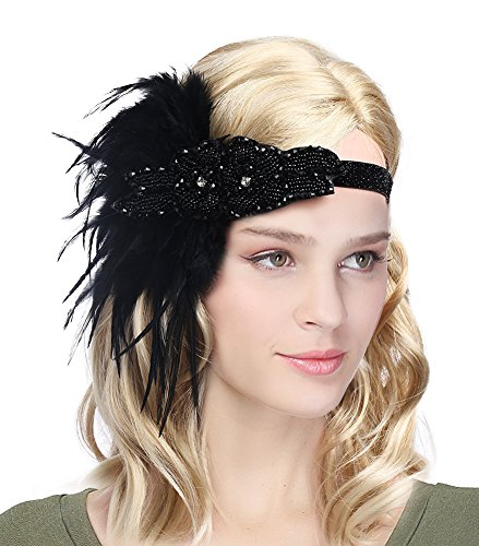 Urban CoCo Women's Vintage 1920s Great Gatsby Flapper Headband Feather Wedding Party Headpiece (#2 Black)