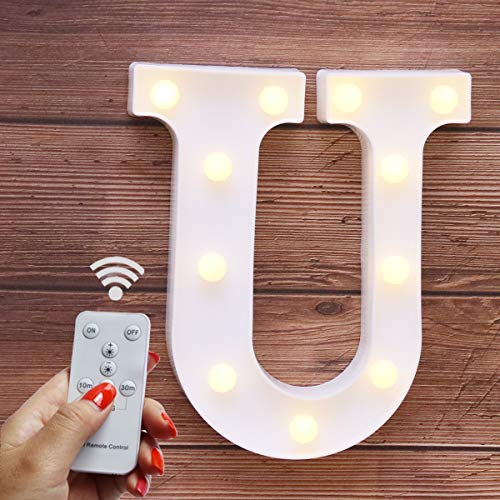 Elnsivo LED Marquee Letter Lights 26 Alphabet Light Up Name Sign Remote Control Letter Lamp for Wedding Birthday Party Battery Powered Christmas Lamp Home Bar Decoration (Letter U-Remote Control)]()