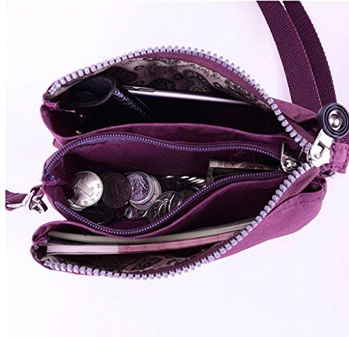teléfono hombro Morado Capas celular Tres monedero Chou correa Tiny con para de bolsa impermeable correa cremallera el bolsa nailon de HPwUw7