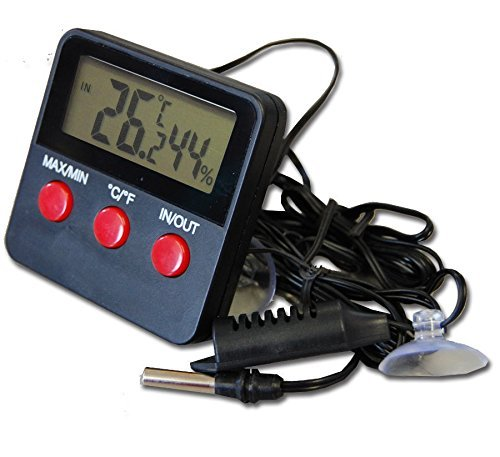 Digital Reptile Tank Max Min Thermometer and Hygrometer With Remote Probes - Ideal for Reptile Tanks, Terrariums, Vivariums, Brooders, and Incubators