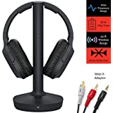 Sony RF400 Headphone & Cable Bundle Includes – Wireless Home Theater Over-Ear Headphones Feature 150-Foot Range, Volume Control, Voice Mode – 6-ft 3.5mm Stereo + NeeGo RCA Plug Y-Adapter for TV