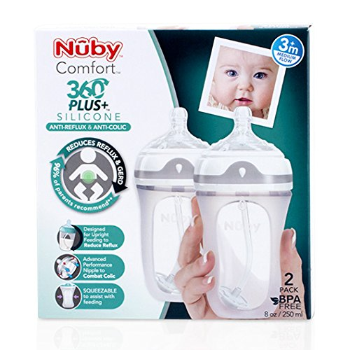 Nuby 2 Piece 360 Comfort Silicone Bottle, 8 Ounce by Nuby (Image #1)
